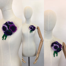 Load image into Gallery viewer, Reproduction Vintage 1940's Make Do and Mend Floral Corsage - In Rich Purples and Greens