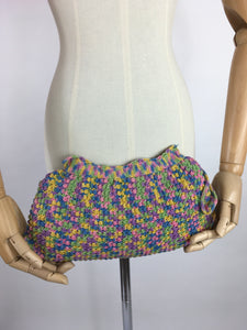 Original 1940's Crochet Clutch Bag - In a Fabulous Rainbow Colour Pallet
