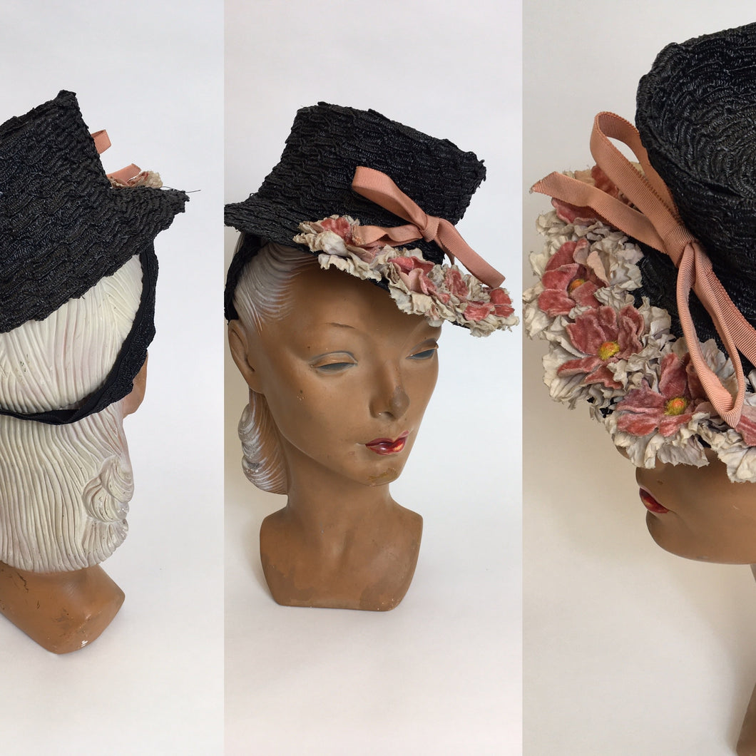 Original Stunning 1940's Black Topper - Adorned with Pink & Grey Velvet Flowers & Leaves