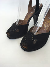 Load image into Gallery viewer, Original 1940s Black Suede Heels - With Peep toe Front Detailing and Buckled Ankle Strap