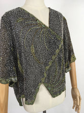 Load image into Gallery viewer, Original 1930s Exquisite Beaded Capelet - Museum Worthy In all its Beauty Fully Beaded In Black, Gold and Deco Green Beads