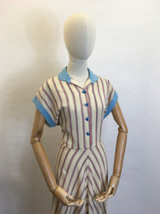 Original 1940's Striped Day Dress - Lovely Cheesecloth fabric in Patriotic Colour Palette