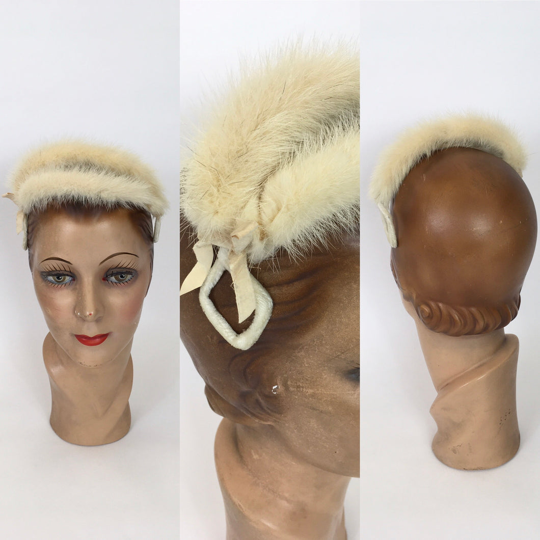 Original 1950's Stunning Blonde Mink Headpiece - Covered In Cream Velvet