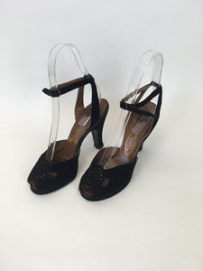 Original 1940s Black Suede Heels - With Peep toe Front Detailing and Buckled Ankle Strap