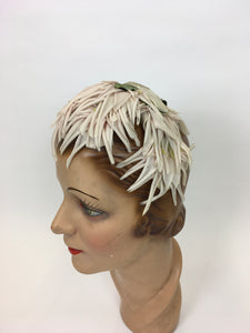 Original 1950s Velvet and Floral Headpiece - In a Delicate Pallet of Soft Pinks, Pale Ivory and Green