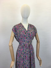 Load image into Gallery viewer, Original Late 1940s Day Dress - In a Beautiful Bright Paisley Rayon Crepe