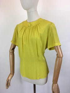Original 1940's Stunning Chartreuse Button Back Blouse - By ' Judy Ann ' American Label