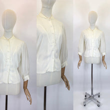 Load image into Gallery viewer, Original Late 1940's Cream Blouse - With Lovely Pleated Detailing To The Bodice