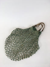 Load image into Gallery viewer, Original 1930's / 1940's String Bag with Leather Handles - In Green & White