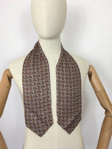 Original 1940's Mens ' Sammy ' Silk Cravat - In a Lovely Bright Yellow and Burgundy Paisley