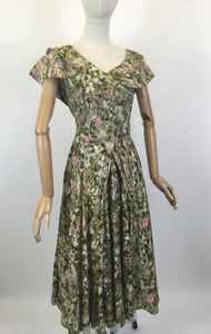 Original 1950's Stunning Silk Party Frock - In A Beautiful Pink & Green Floral