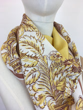 Load image into Gallery viewer, Original 1940s Fine Crepe Scarf - In A Beautiful Floral In Soft Yellows, Fawns, Warm Brown and Creams