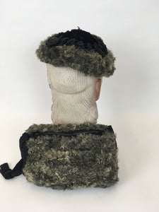 Original 1940s Gorgeous Hat & Muff 2pc Set - In a Lovely Grey Astrakhan and Black Velvet with Trim