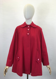 Original Late 1940's Raspberry Red Swing Jacket - With Stunning Detailing