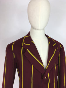 Original College Blazer By ' Ryder and Amies Cambridge' - In a Lovely Burgundy and Yellow Stripe
