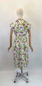 Original 1950s Crisp Cotton Day Dress - In Autumnal Shades of Warm Browns, Soft Greys and Bright Olive Green
