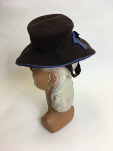 Original 1940's Brown Felt Topper Hat - Adorned With A Powder Blue Bow