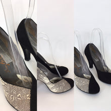 Load image into Gallery viewer, Original 1950's STUNNING Black And Snakeskin Heels - Made By ' Jean La Val '