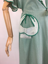 Load image into Gallery viewer, Original 1940's SENSATIONAL Wrap House Dress - In A Fabulous Green & White Polka Dot