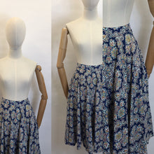 Load image into Gallery viewer, Original 1950's ' St. Michael' Cotton Skirt - Made From A Beautiful Paisley Floral in Blue