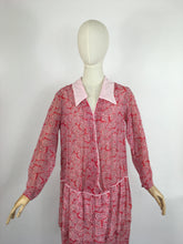 Load image into Gallery viewer, Original Early 1930s Darling Day Dress - In a Fabulous Deco Almost Book Print Cotton Lawn with Scalloped Hem Detailing