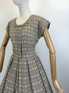 Original 1950's Darling Broderie Anglaise Cotton Day Dress - In a Soft Fawn with White Accents