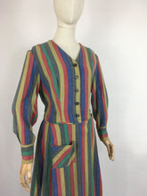 Load image into Gallery viewer, Original Late 1930s Day Dress - In a Fabulous Heavyweight Linen in a Rainbow Stripe with Contrast Chevron Pattern