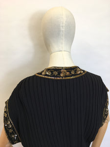 Original 1940's Double Dinner Plate Label Blouse - Amazing Beadwork and Pleating