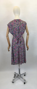 Original Late 1940s Day Dress - In a Beautiful Bright Paisley Rayon Crepe