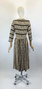 Original 1940's Stunning Crepe Dress - In a Warm Brown and Old Cream