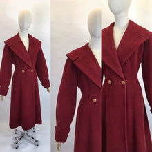Load image into Gallery viewer, Original 1940's SENSATIONAL Russet Red Princess Coat - Lovely Shaped Shawl Collar and Cuffs