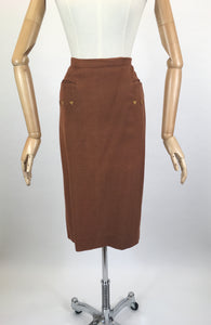 Original 1940s Pencil Skirt in a Heavyweight Linen - In A Lovely Warm Rust Brown With Arrow Detailing