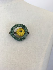 Original 1940s Telephone Cord Brooch - In Soft Green with a Sunshine Yellow Button Detailing