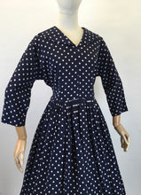 Load image into Gallery viewer, Original 1950s Lightweight Cotton Day Dress - In a Fabulous Deep Navy Polka Dot