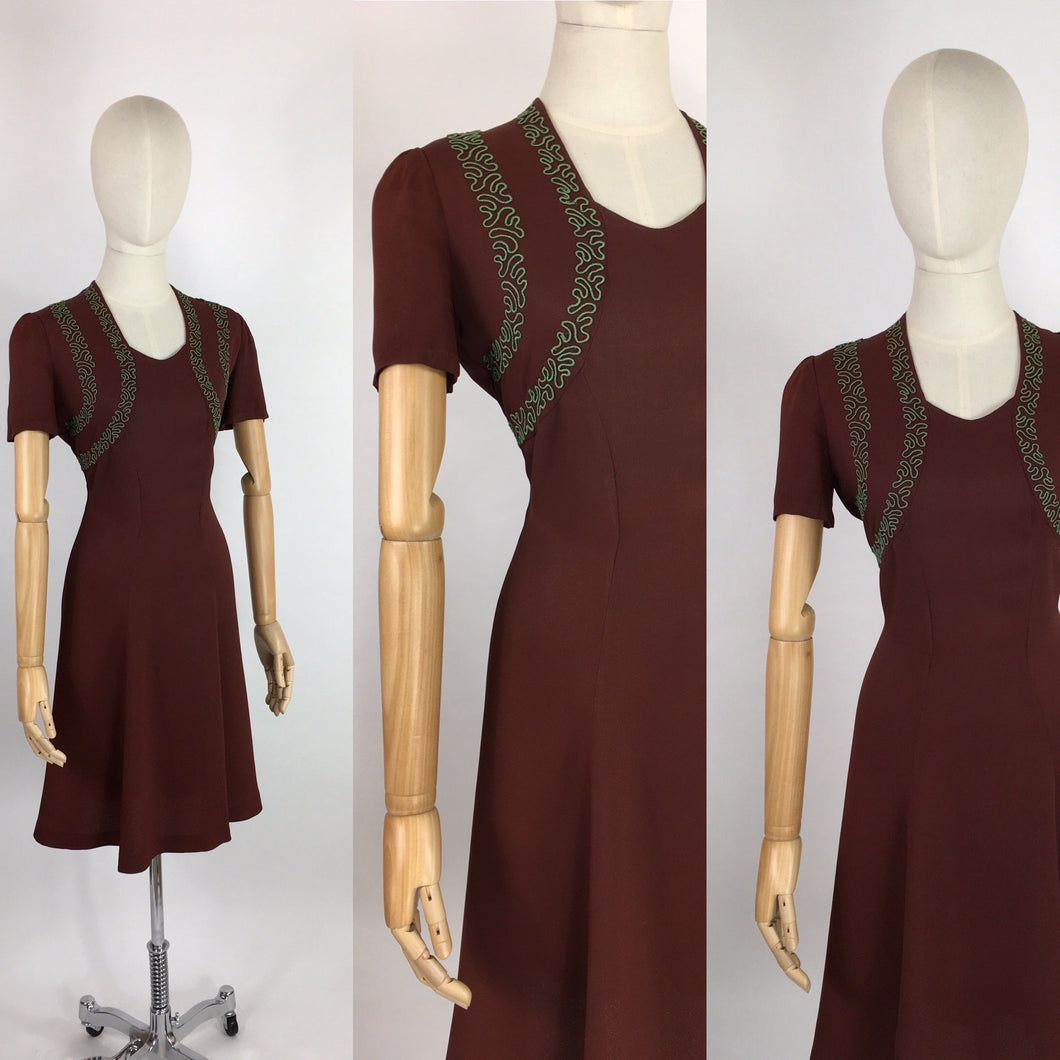 Original 1940's Day Dress - In A Lovely Brown Crepe With Contrast Green Soutache Detailing