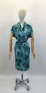 Original 1950's VOLUP Cotton Day Dress - In A Lovely Rich Teal Colour Floral