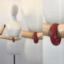 Load image into Gallery viewer, Bow & Crossbones Jewellery - Etta Tropical Carved Bangle in Cherry Red