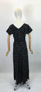 Original 1930's Exquisite Full Length Gown in A Fine Crepe - Made By ' Cavendish House, Cheltenham '