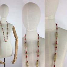Load image into Gallery viewer, Original 1930s Long Line Necklace - In a Contrast Glass Bead and Celluloid in Reds, Clear and Soft Cream