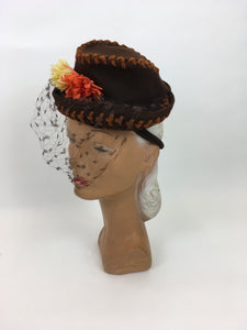 Original STUNNING 1940s American Topper Hat - In an Autumnal Colour Pallet of Warm Brown, Oranges and Yellow