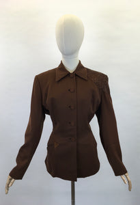 Original 1940s Stunning ' Fred A Block' Jacket - With Beautiful Bronze Beadwork to the Shoulder