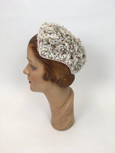 Original 1950s Darling ' Marten' Hat - Made in A Dusky Pink with Ivory Florals and Soft Green Leaves