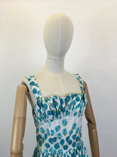 Load image into Gallery viewer, Original 1950's Gorgeous Sun Dress - In A Beautiful Blue Rose Print Cotton