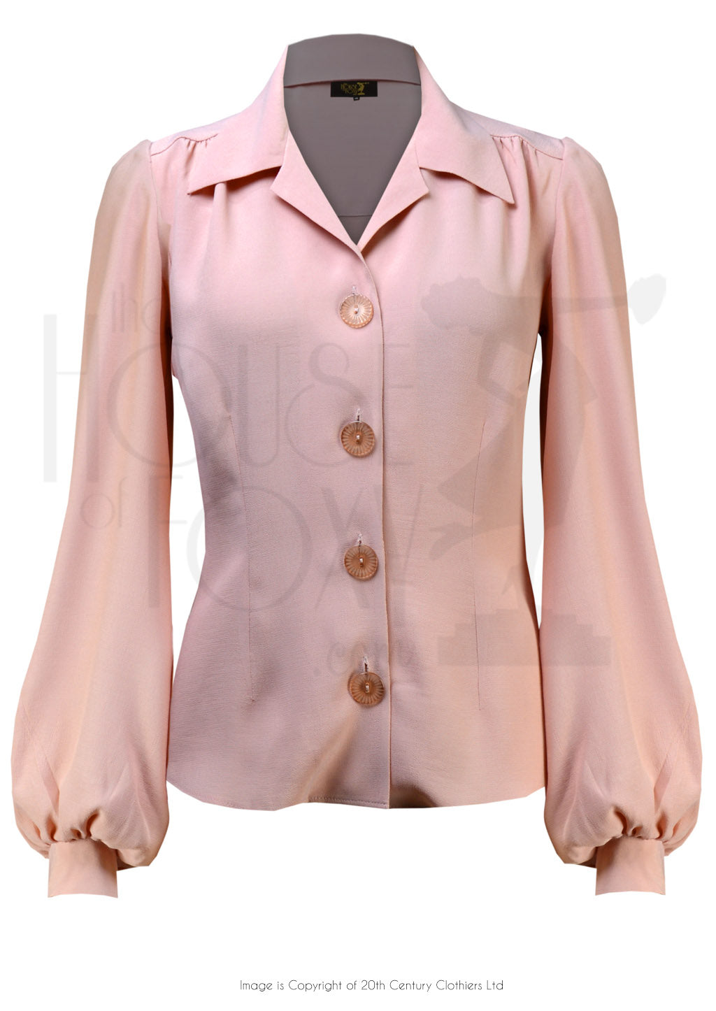 House of Foxy 1940's Shirt Blouse in Blush