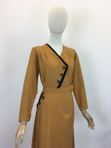 Original Late 1940's Stunning Dress With Asymmetric Detailing - In A Perfect Shade Of Pumpkin Spice