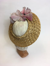 Load image into Gallery viewer, Original 1940's Summer Open Crown Straw Hat - With Original Floral Adornment