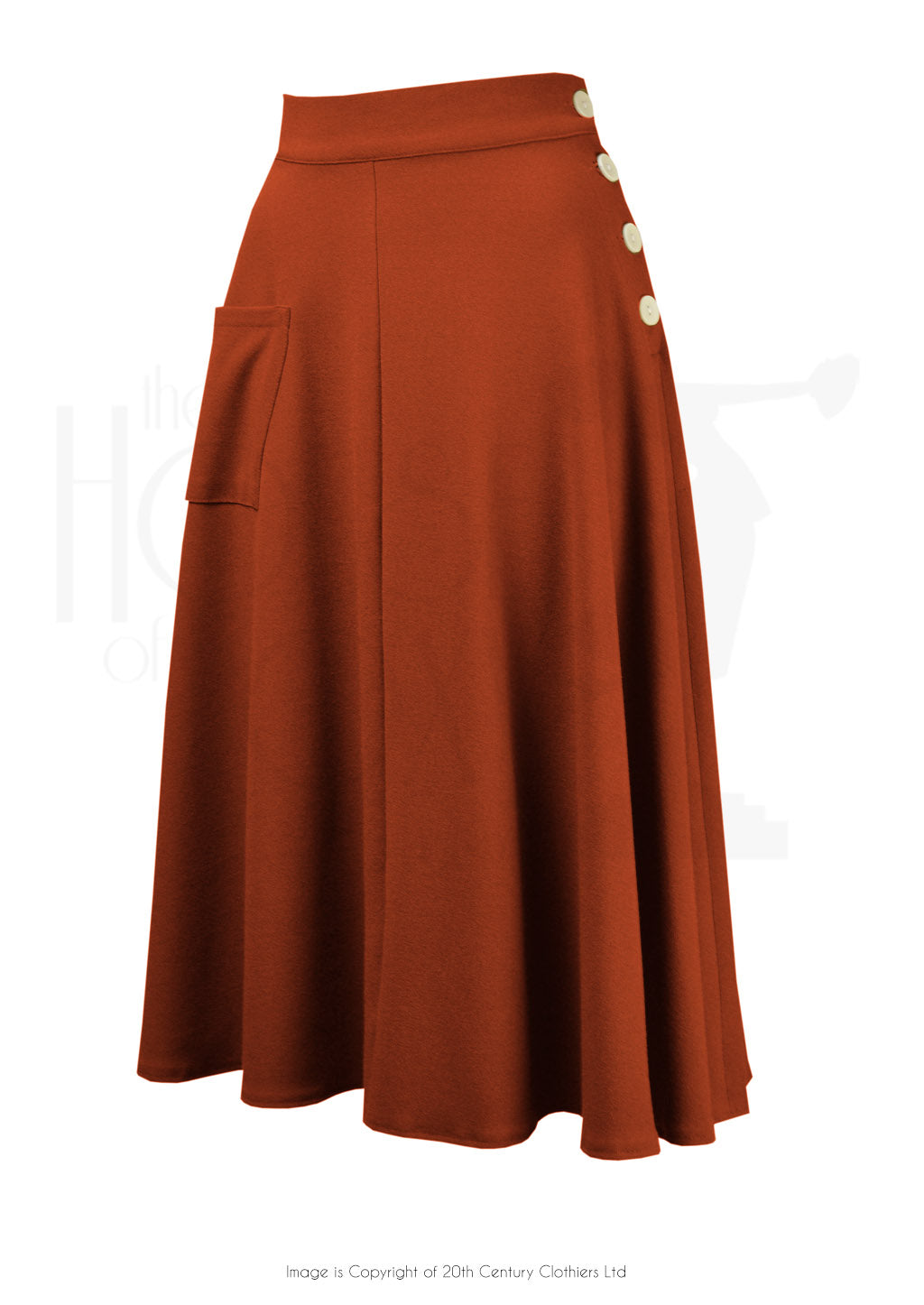 House of Foxy 1940's Whirlaway Skirt in Rust