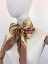 Load image into Gallery viewer, Original 1930's Deco Pointed Scarf - In Beautiful Warm Browns, Yellows, Burnt Orange and Stencilled Black