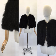 Load image into Gallery viewer, Original 1930s Black Marabou Feather Capelet - Made By ' Springfield Made In England '