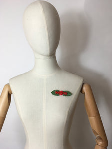 Original 1940's Wartime Plastic Brooch - Green leaf with shaped red flowers